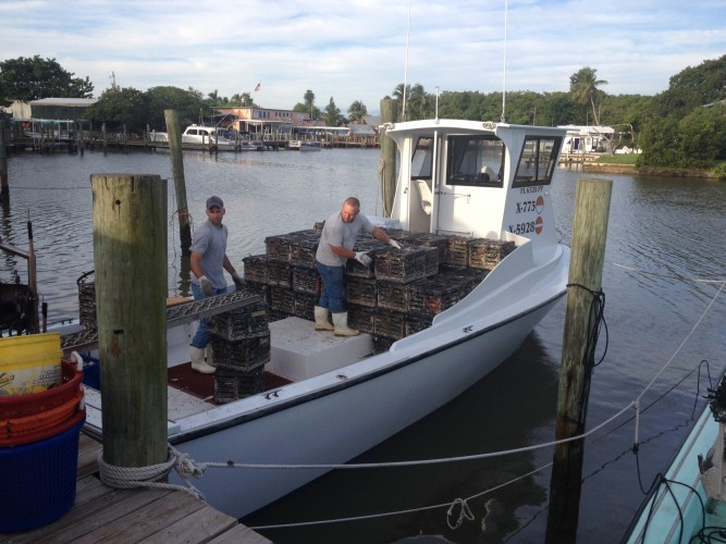 Loading the Miss Chloe Ann with traps
